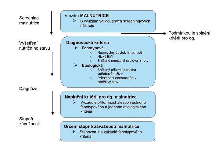 Schéma 1 Diagnostické schéma klasifikace podvýživy založené na fenotypových kritériích (10)
