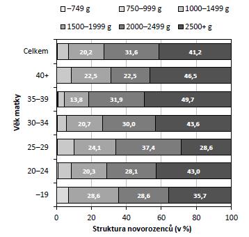 Struktura novorozenců vícečetných porodů dle porodní hmotnosti a věku matky (zdroj: 26; vlastní výpočty)