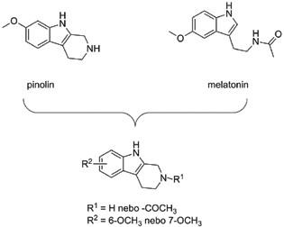 Design a obecná struktura pinolin-melatoninových derivátů