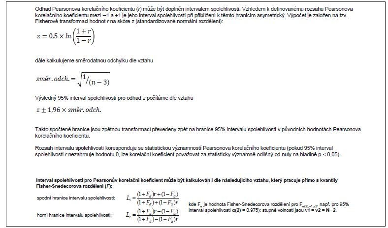 Příklad 2. Výpočet intervalu spolehlivosti výběrového Pearsonova korelačního koeficientu.