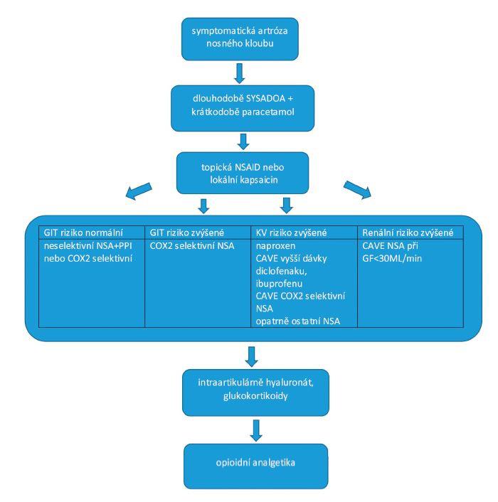 Schéma 1 Algoritmus léčby osteoartrózy kolenního kloubu