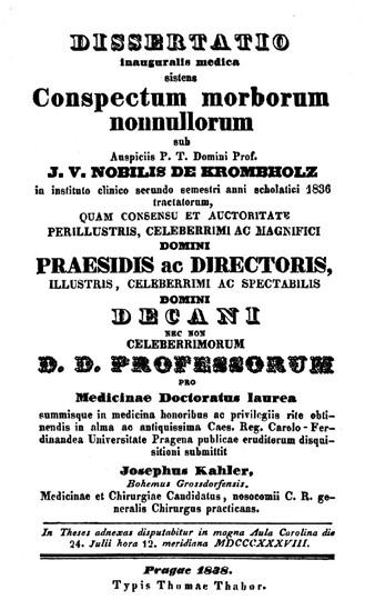 Titulní strana pražské disertace Josefa Kahlera (1838)