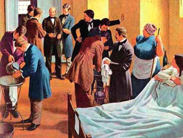 Mytí rukou v Semmelweisově porodnici