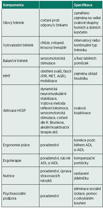 Komponenty programu plicní rehabilitace.