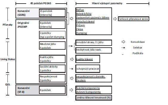 Schéma 1: Proces konsolidace a selekce k vytvoření hlavních výstupních parametrů PGSAS-45 [6]<br> Scheme 1: Process of consolidation and selection of the main outcome parameters of PGSAS-45 [6]