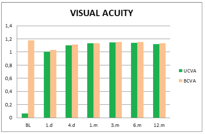 Average values of uncorrected and best corrected visual acuity