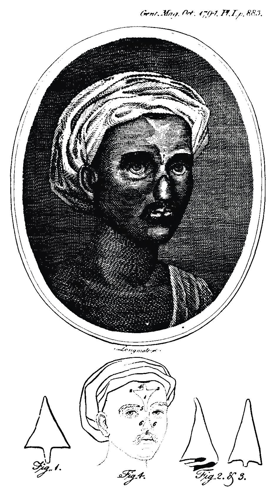 Stránka z anglického Gentlemanského magazínu s náčrtem indické plastiky.
