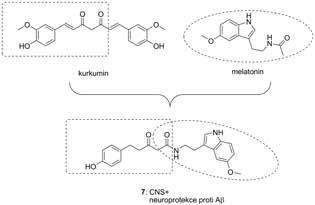 Kurkumin-melatoninový derivát 7