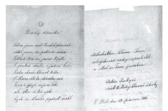 Veršované přání od vnuka Otakara datované v Bělé 16. prosince 1868