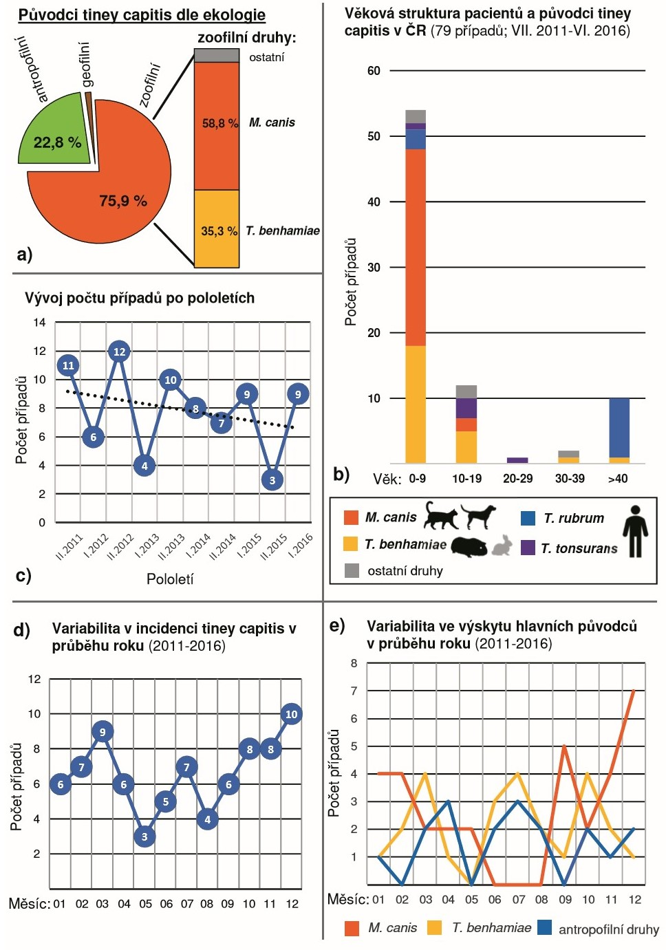 Epidemiologická analýza 79 případů tiney capitis diagnostikovaných během pětileté studie (VII. 2011 až VI. 2016)