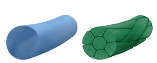 Monofilamentní a multifilamentní vlákno<br> Fig. 2: Monofilament and multifilament fibre