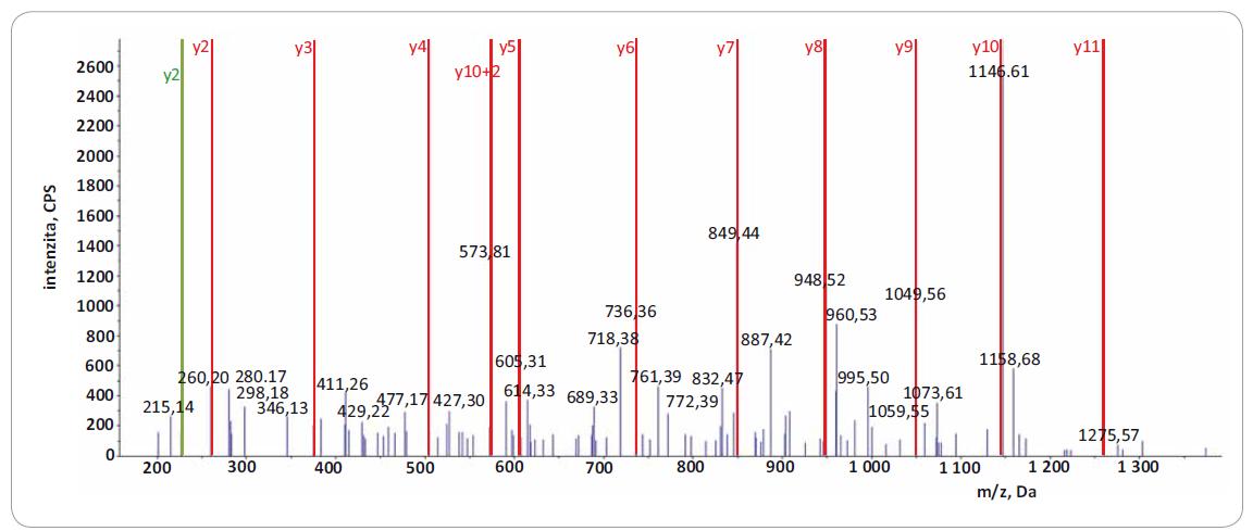 Fragmentační spektrum produktových iontů reprezentující peptid IIPTVLMTEDIK z proteinu EIF4G1