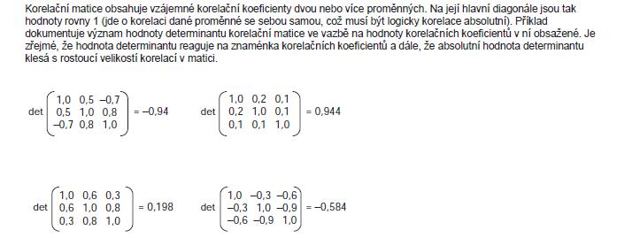 Příklad 3. Příklady determinantů různých korelačních matic.