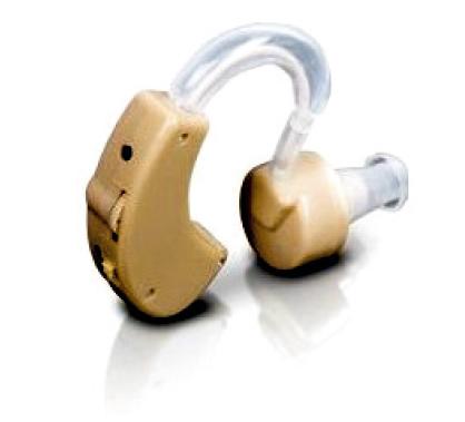 Klasické závěsné naslouchadlo. Obsahuje mikrofon, zesilovač, baterii a reproduktor.