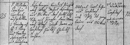 Zápis sňatku Josefových prarodičů J. Rosenbergera a A. Zünkeové (1783)