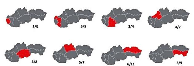 Pod každou mapkou napravo je uvedený počet pôrodníc, ktoré odosielali hlásenky do registra v roku 2016 a za lomítkom je počet pôrodníc v danom kraji republiky. Pod mapkami dole je uvedený počet hláseniek, ktoré sme v registri obdržali za rok 2016 a rok 2017 z daného kraja.