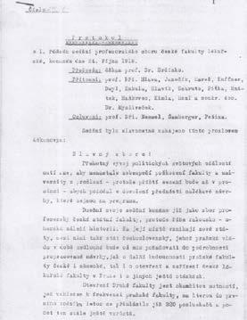 První strana protokolu ze zasedání profesorského sboru 24. 10. 1918
